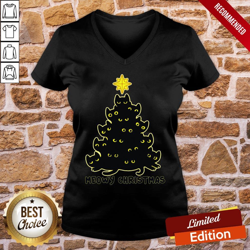 Good Black Cat Meowy Christmas V-neck- Design By Proposetees.com