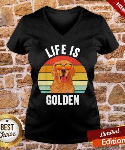 Good Life Is Golden Retriever Vintage V-neck- Design By Proposetees.com