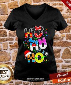 Ho Ho Ho Cute Disney Christmas V-neck- Design By Proposetees.com