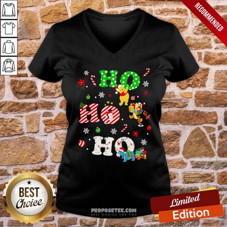 Ho Ho Ho Pooh And Friends Christmas V-neck- Design By Proposetees.com