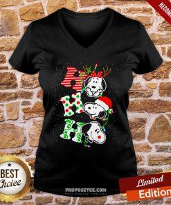 Ho Ho Ho Snoopy Christmas V-neck- Design By Proposetees.com