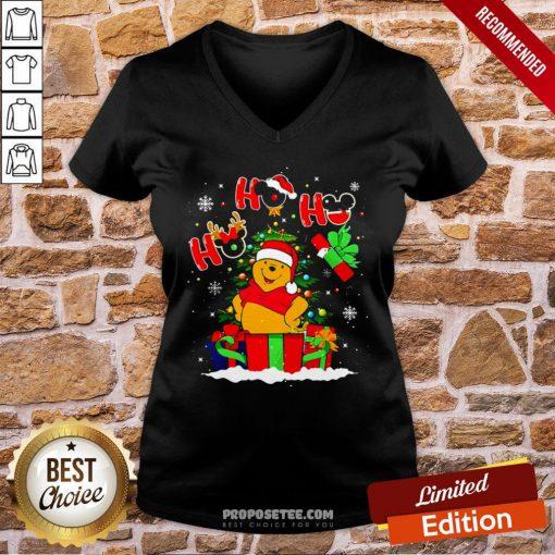 Ho Ho Ho Winnie The Pooh Christmas V-neck- Design By Proposetees.com