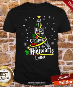 I Want For Christmas Is My Hogwarts Letter Tree Shirt- Design By Proposetees.com