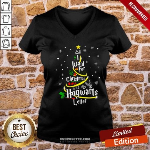 I Want For Christmas Is My Hogwarts Letter Tree V-neck- Design By Proposetees.com
