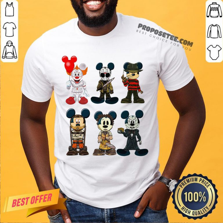Mickey Mouse Style Horror Character Halloween Shirt- Design By Proposetees.com