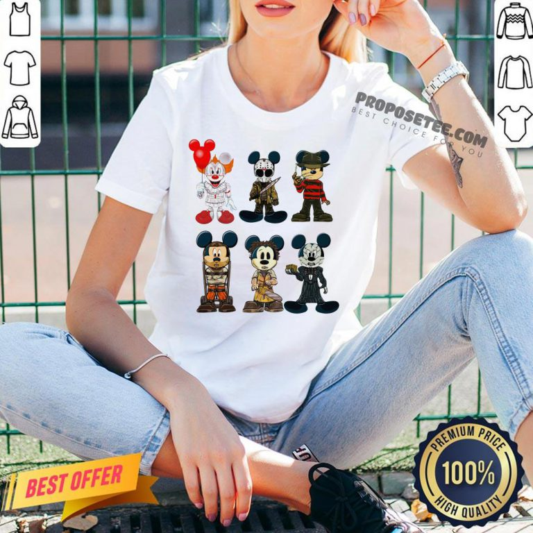 Mickey Mouse Style Horror Character Halloween V-neck- Design By Proposetees.com