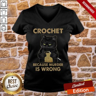 Nice Black Cat Crochet Because Murder Is Wrong V-neck- Design By Proposetees.com