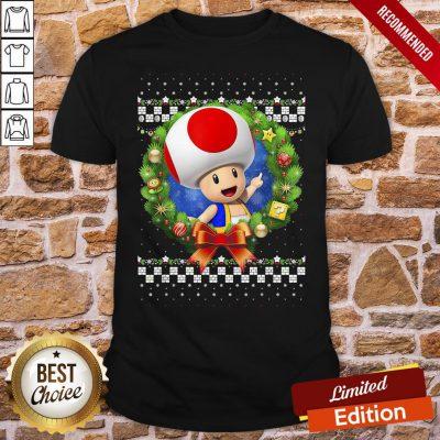 Original Super Mario 3D Toad Christmas Wreath Graphic Shirt- Design By Proposetees.com