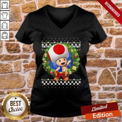 Original Super Mario 3D Toad Christmas Wreath Graphic V-neck- Design By Proposetees.com