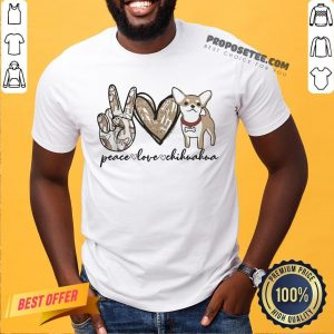 Premium Peace Love Chihuahua Victory Shirt- Design By Proposetees.com