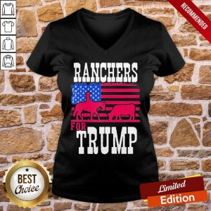 Premium Ranchers For Trump American Flag V-neck- Design By Proposetees.com
