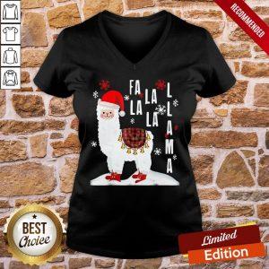 Pretty Fa La La Llama Santa Christmas V-neck- Design By Proposetees.com
