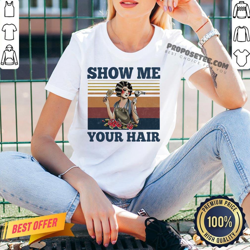 Show Me Your Hair Ladies Flowers Vintage V-neck- Design By Proposetees.com
