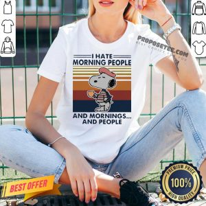 Snoopy I Hate Morning People And Mornings And People Vintage V-neck- Design By Proposetees.com