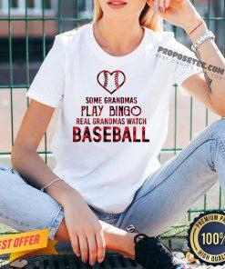 Some Grandma Play Bingo Real Grandma Watch Baseball V-neck- Design By Proposetees.com