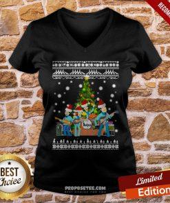 The Beatles Christmas Tree Ugly Christmas V-neck- Design By Proposetees.com