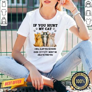 Top If You Hurt My Cat I Will Slap So Hard Even Google Won't Be Able To Find You V-neck- Design By Proposetees.com