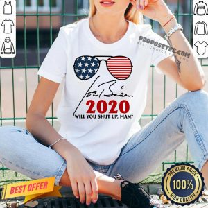 Will You Shut Up Man Joe Biden 2020 American Flag V-neck- Design By Proposetees.com