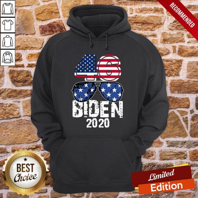 Awesome 46 Glasses Joe Biden 2020 American Flag Hoodie- Design By Proposetees.com