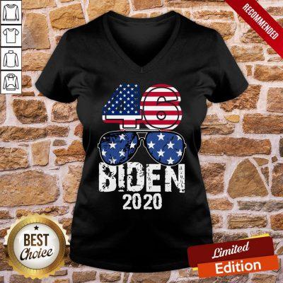 Awesome 46 Glasses Joe Biden 2020 American Flag V-neck- Design By Proposetees.com