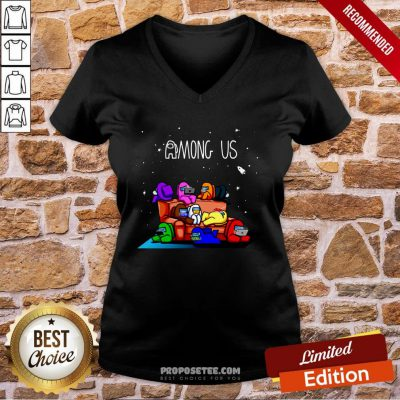 Awesome Among Us Imposter Play Game V-neck- Design By Proposetees.com