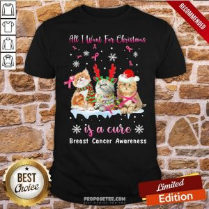 Awesome Cat All I Want For Christmas Is A Cure Breast Cancer Awareness Shirt- Design By Proposetees.com