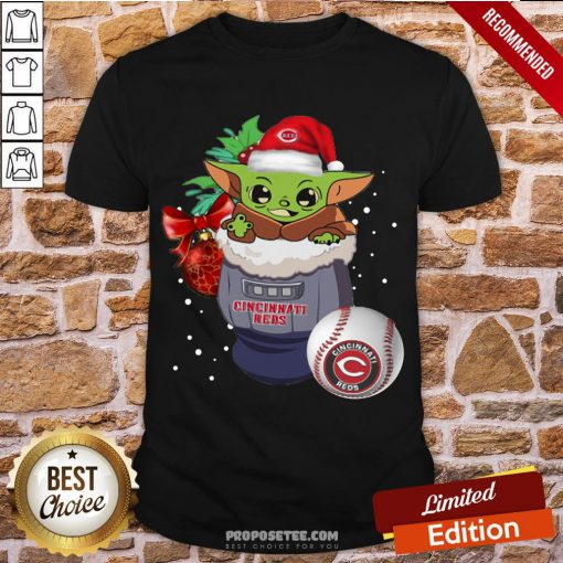 Awesome Cincinnati Reds Christmas Baby Yoda Star Wars Funny Happy Mlb Shirt-Design By Proposetees.com