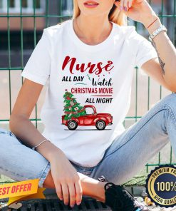 Awesome Nurse All Day Watch Christmas Movie All Night V-neck- Design By Proposetees.com