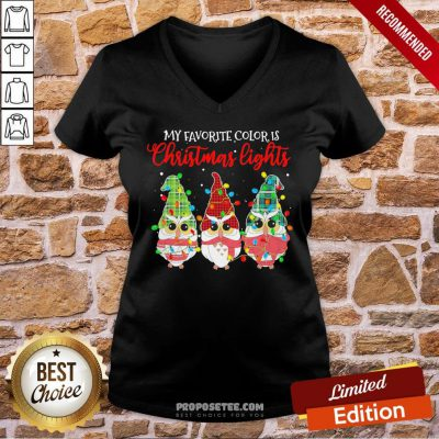 Awesome Owls Gnomes My Favorite Color Is Christmas Lights V-neck- Design By Proposetees.com