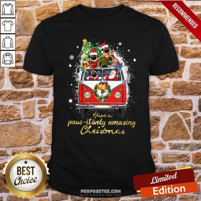 Awesome Santa Bulldogs Drive Hippie Car Have A Pawsitively Amazing Christmas Shirt- Design By Proposetees.com