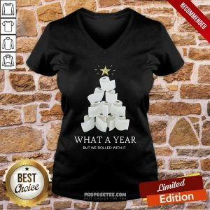 What A Year But We Rolled With It Toilet Paper Christmas Tree Sweater V-neck-Design By Proposetees.com