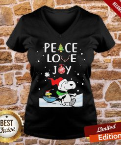 Funny Merry Christmas Peanuts Snoopy Peace Love Joy V-neck- Design By Proposetees.com