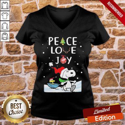 Funny Merry Christmas Peanuts Snoopy Peace Love Joy V-neck- Design By Proposetees.com