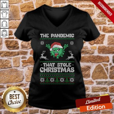 Funny The Pandemic That Stole Christmas Hat Santa V-neck- Design By Proposetees.com