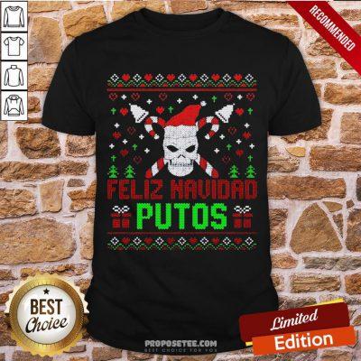 Good Feliz Navidad Putos Skull Ugly Christmas Sweater Shirt-Design By Proposetees.com