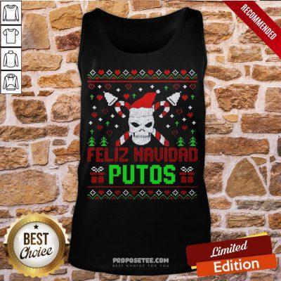 Good Feliz Navidad Putos Skull Ugly Christmas Sweater Tank Top-Design By Proposetees.com