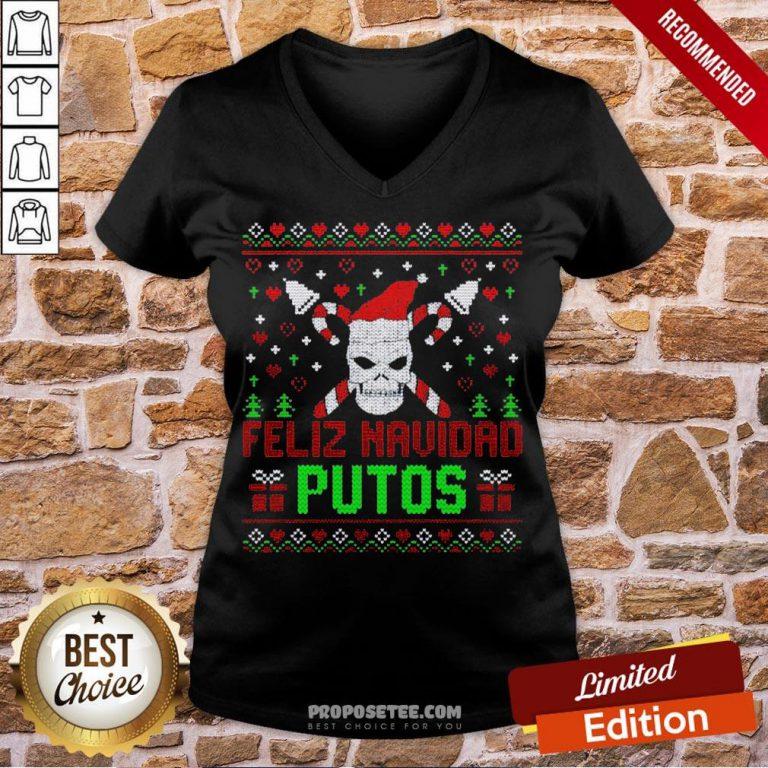 Good Feliz Navidad Putos Skull Ugly Christmas Sweater V-neck-Design By Proposetees.com