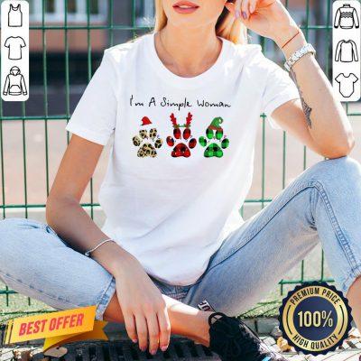 Good Plaid Paw Santa I'm A Simple Woman Christmas V-neck- Design By Proposetees.com