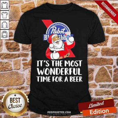 Good Santa Pabst Blue Ribbon It's The Most Wonderful Time For A Beer Shirt- Design By Proposetees.com