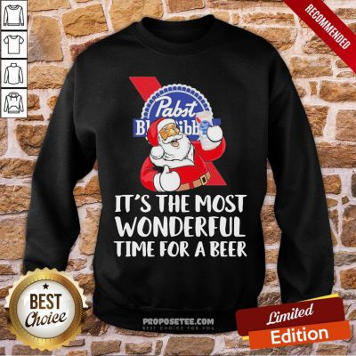 Good Santa Pabst Blue Ribbon It's The Most Wonderful Time For A Beer Sweatshirt- Design By Proposetees.com