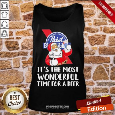 Good Santa Pabst Blue Ribbon It's The Most Wonderful Time For A Beer Tank-Top- Design By Proposetees.com