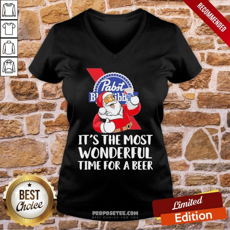 Good Santa Pabst Blue Ribbon It's The Most Wonderful Time For A Beer V-neck- Design By Proposetees.com