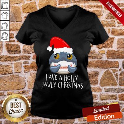 Good Santa Shark Have A Holly Jawly Christmas V-neck- Design By Proposetees.com