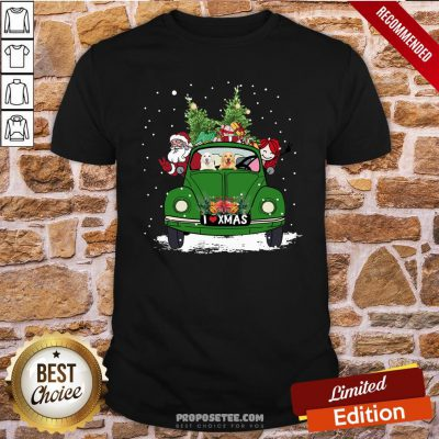 Nice A Girl Her Golden Retriever Dog And Santa Claus I Love Xmas Christmas Tree Shirt- Design By Proposetees.com