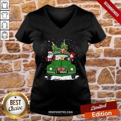 Nice A Girl Her Golden Retriever Dog And Santa Claus I Love Xmas Christmas Tree V-neck- Design By Proposetees.com