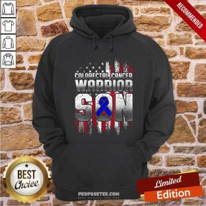 Colorectal Cancer Warrior Son Ribbon American Flag Hoodie-Design By Proposetees.com