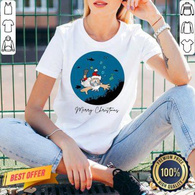 Official Santa Claus Dive Merry Christmas V-neck- Design By Proposetees.com