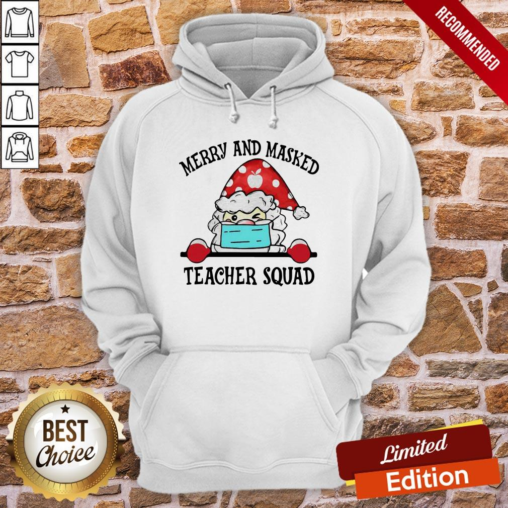 Official Santa Face Mask Merry And Masked Teacher Squad Christmas Hoodie- Design By Proposetees.com
