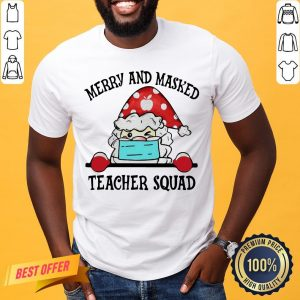 Official Santa Face Mask Merry And Masked Teacher Squad Christmas Shirt- Design By Proposetees.com