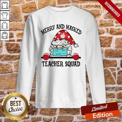 Official Santa Face Mask Merry And Masked Teacher Squad Christmas Sweatshirt- Design By Proposetees.com